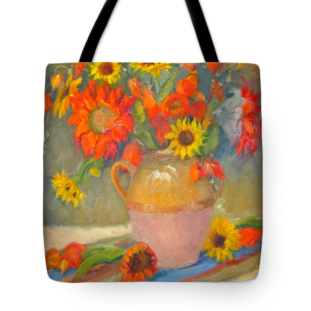 Sunflowers Tote Bag featuring the painting Sunflowers And More by Bunny Oliver