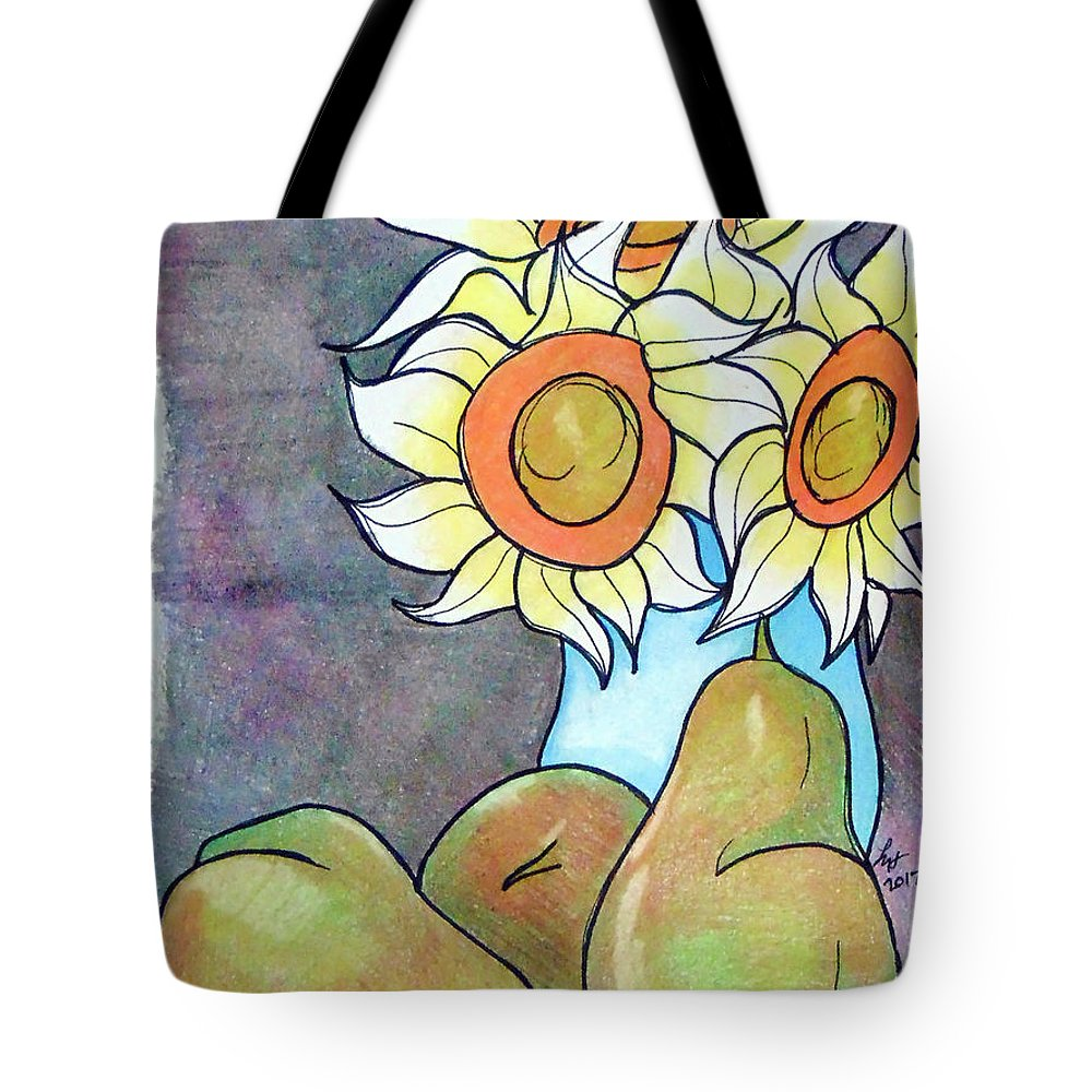 Sunflowers Tote Bag featuring the drawing Sunflowers And Pears by Loretta Nash