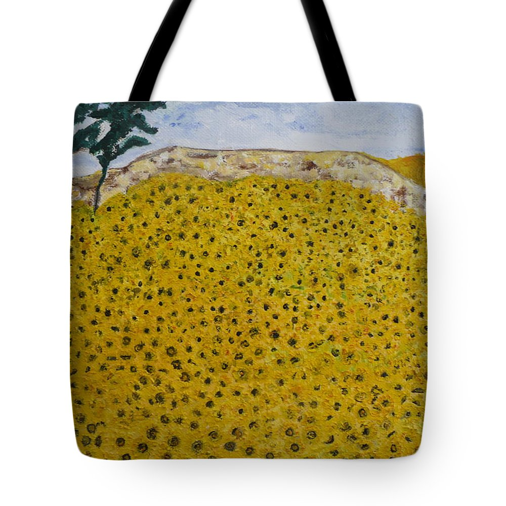 Blue Sky Of The Midi. Tote Bag featuring the painting Sunflowers Field 1998. by Corinne de la garrigue