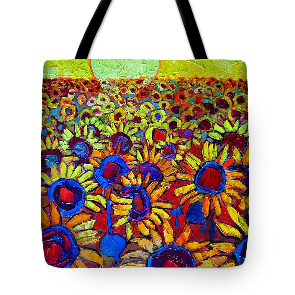 Sunflowers Tote Bag featuring the painting Sunflowers Field At Sunrise by Ana Maria Edulescu