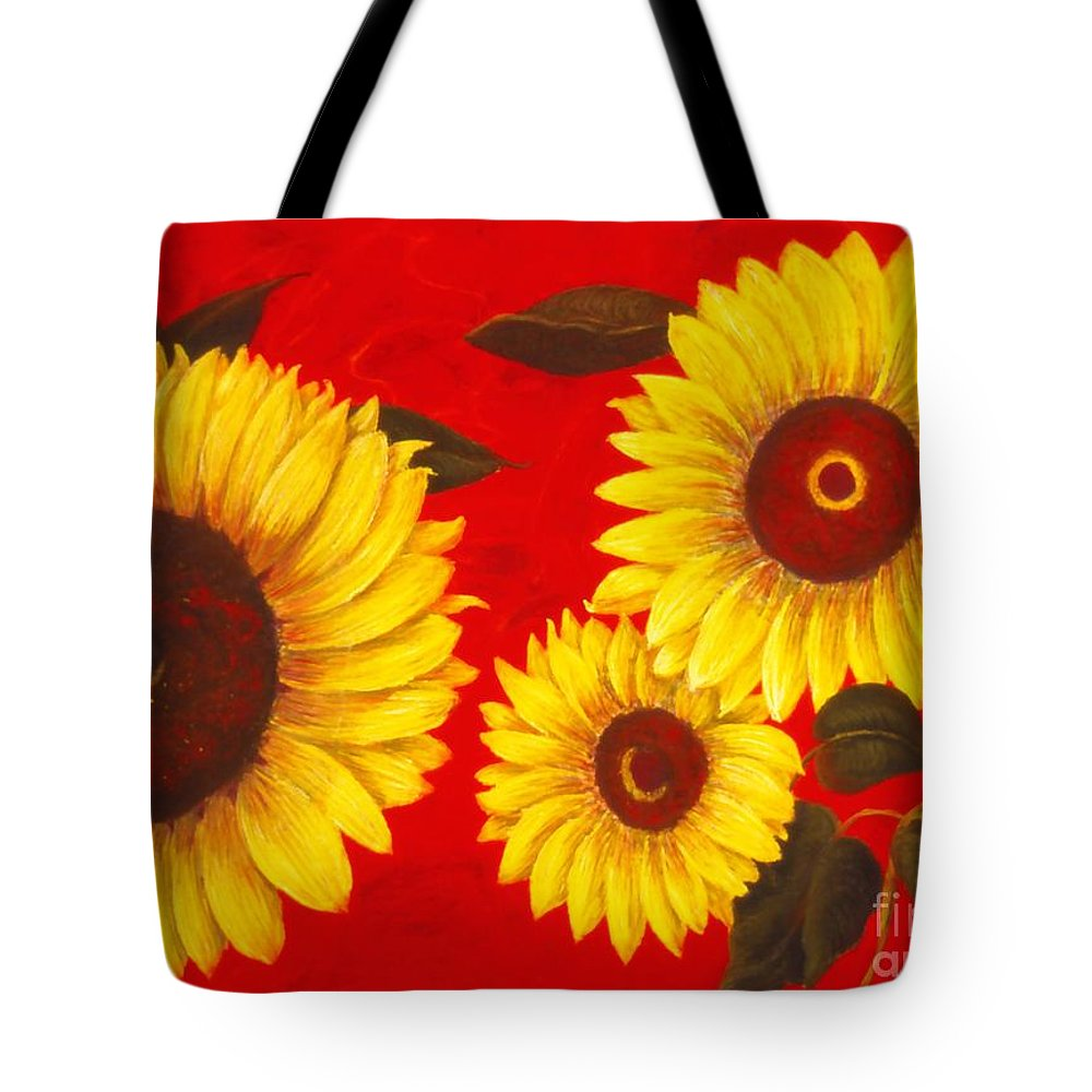 Flowers Tote Bag featuring the painting Sunflowers IIi by Mary Erbert
