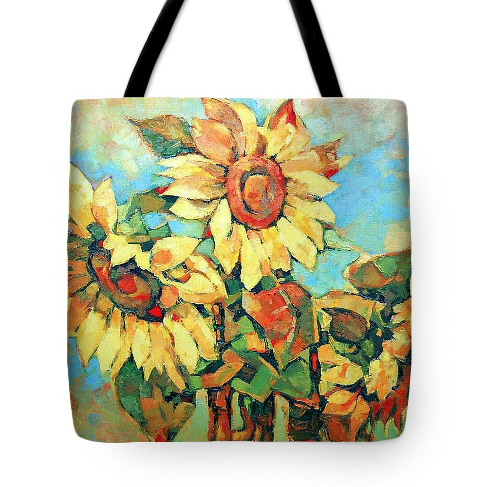 Sunflowers Tote Bag featuring the painting Sunflowers by Iliyan Bozhanov