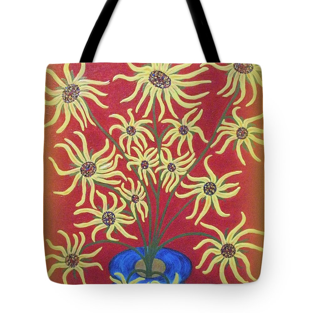 Birthdays Tote Bag featuring the painting Sunflowers In A Blue Vase by Marie Schwarzer