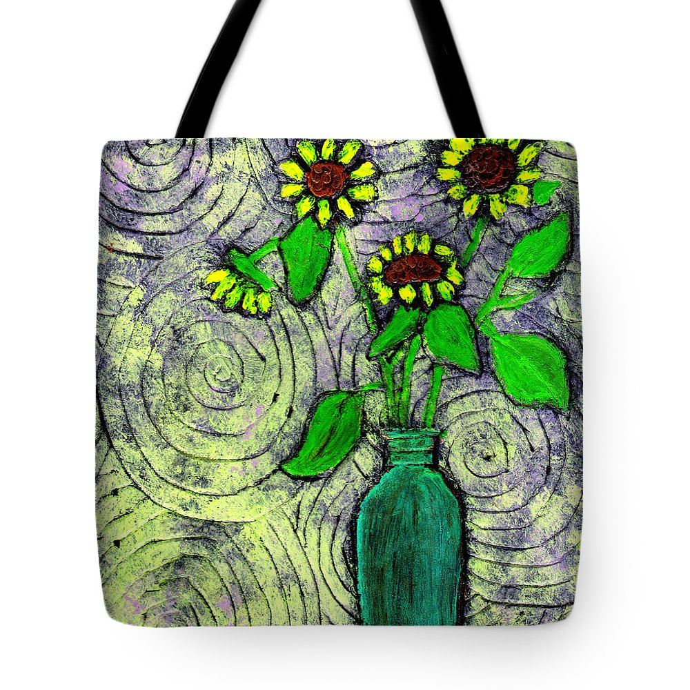 Sunflowers Tote Bag featuring the painting Sunflowers In A Green Vase by Wayne Potrafka