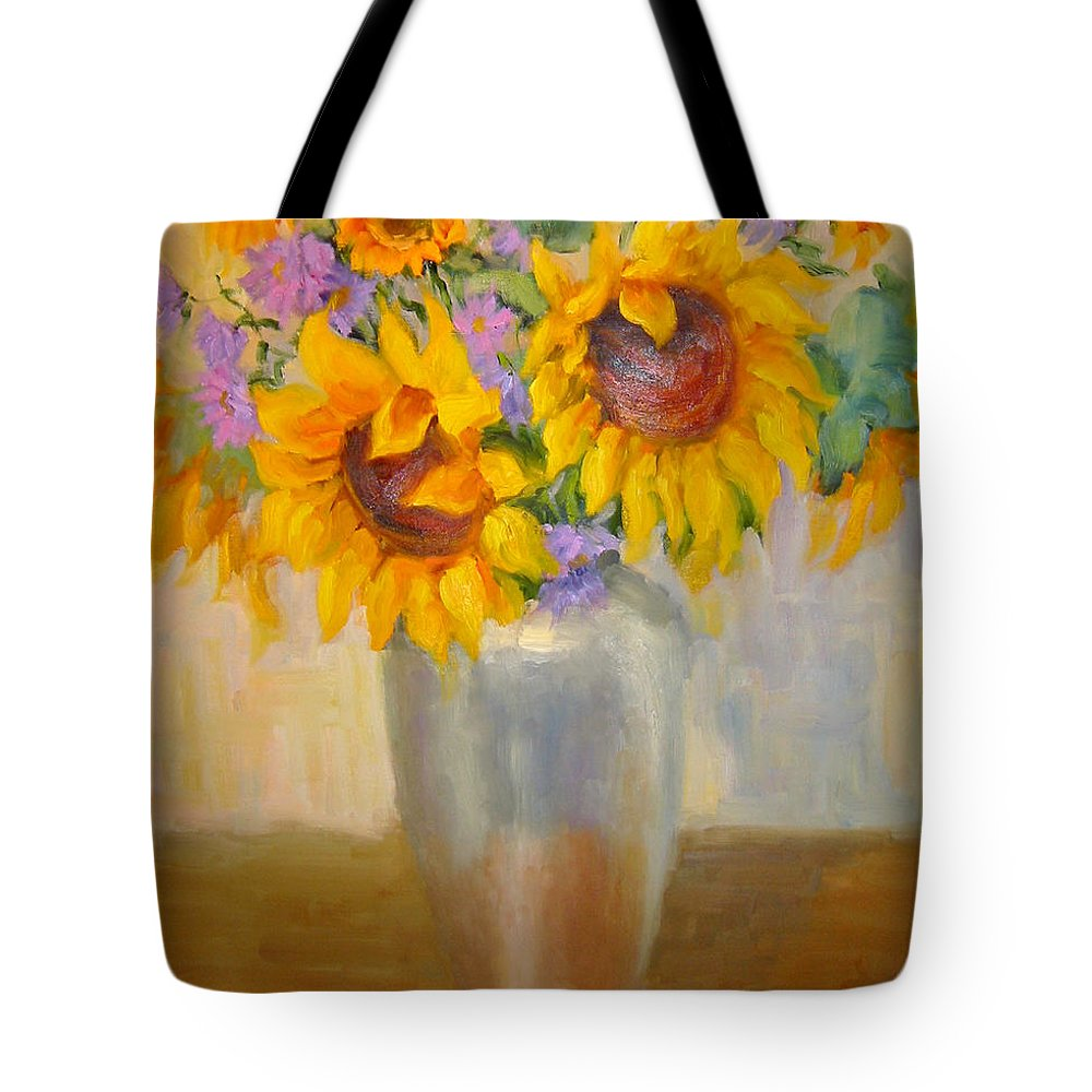 Sunflowers Tote Bag featuring the painting Sunflowers In A Silver Vase by Bunny Oliver