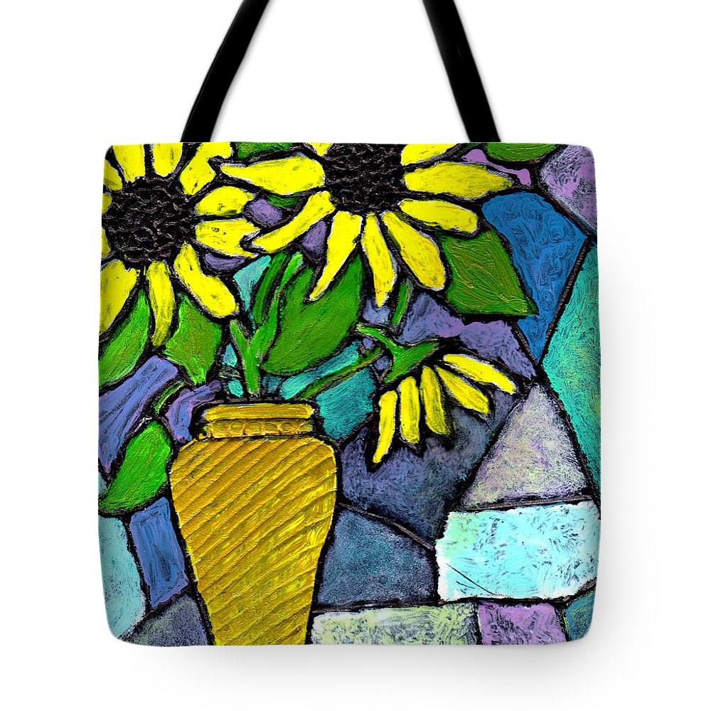 Flowers Tote Bag featuring the painting Sunflowers In A Vase by Wayne Potrafka