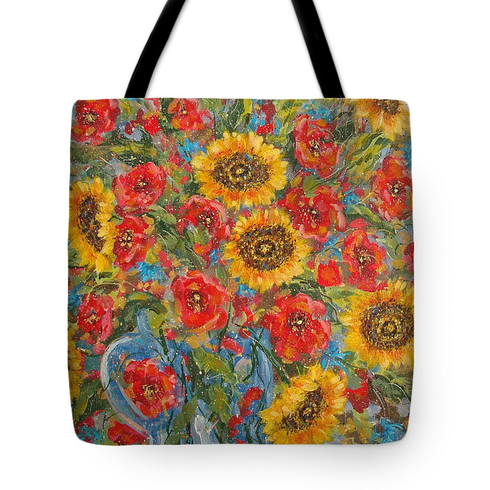 Flowers Tote Bag featuring the painting Sunflowers In Blue Pitcher. by Leonard Holland