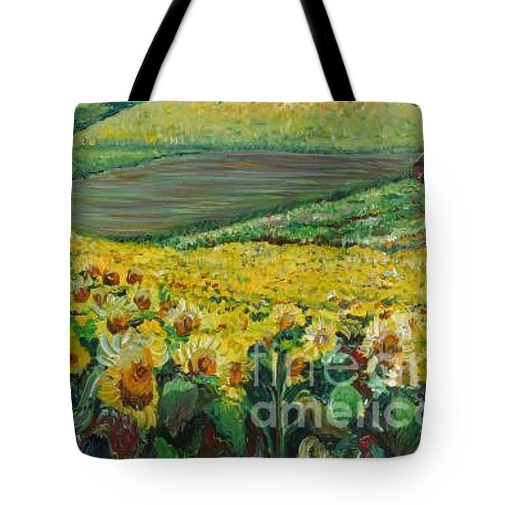 A Field Of Yellow Sunflowers Tote Bag featuring the painting Sunflowers In Provence by Nadine Rippelmeyer