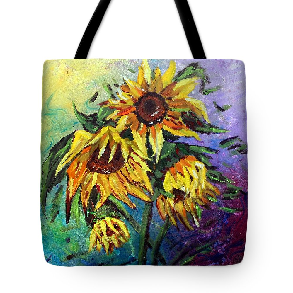 Art Tote Bag featuring the painting Sunflowers In The Rain by Luiza Vizoli