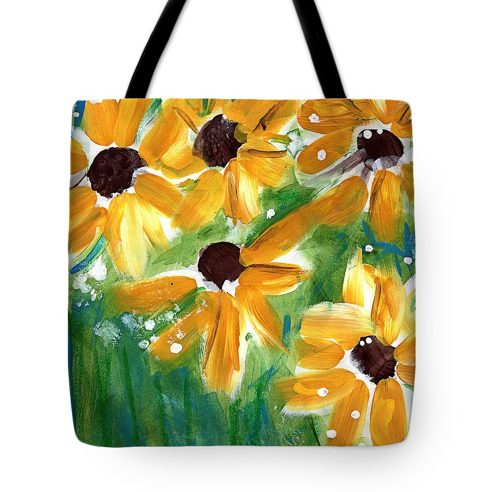 Sunflowers Tote Bag featuring the painting Sunflowers by Linda Woods
