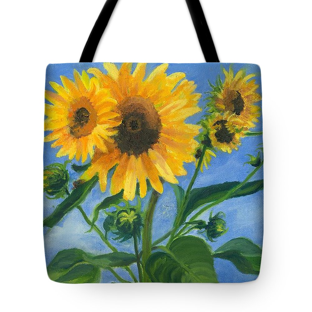 Flowers Tote Bag featuring the painting Sunflowers On Bauer Farm by Paula Emery