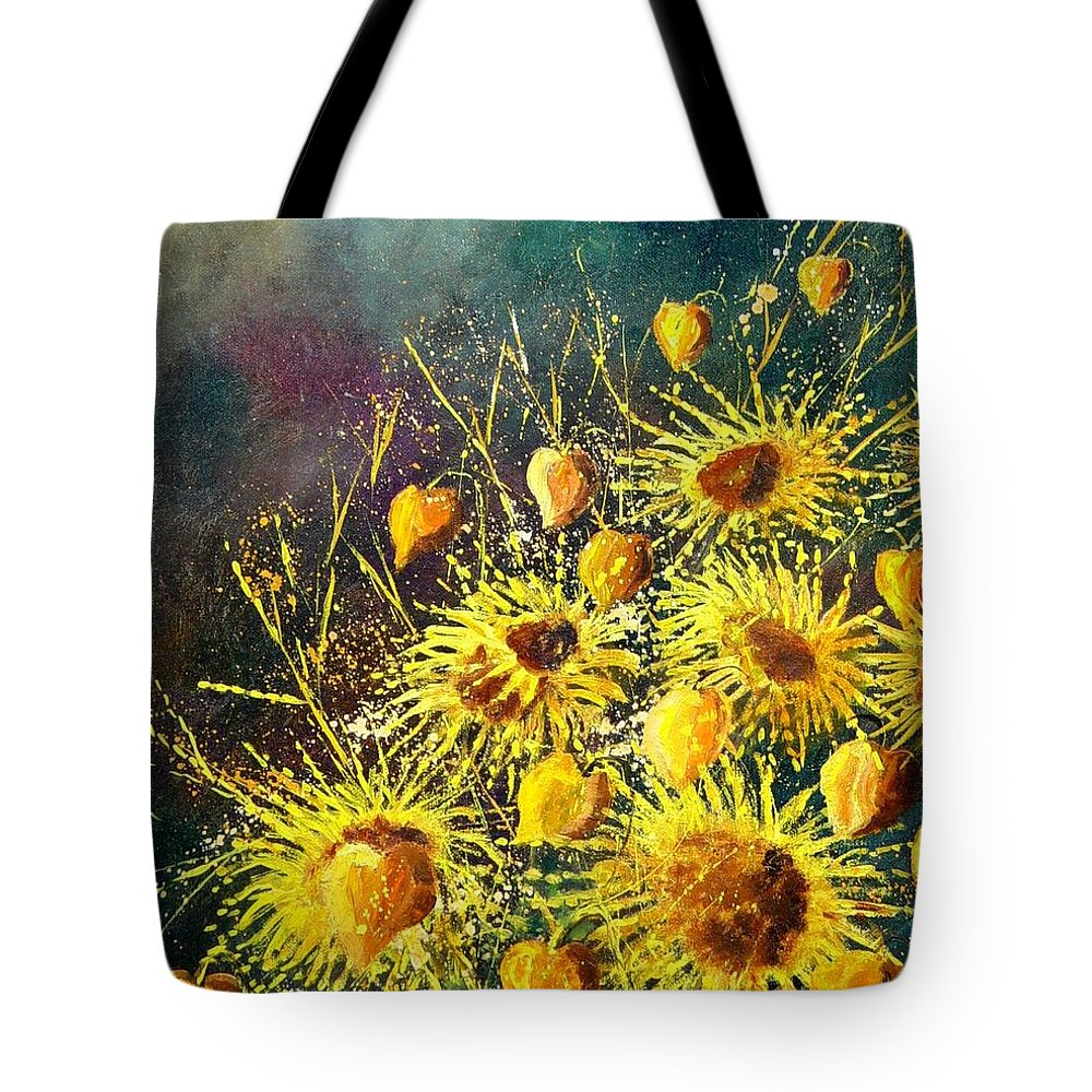 Flowers Tote Bag featuring the painting Sunflowers by Pol Ledent