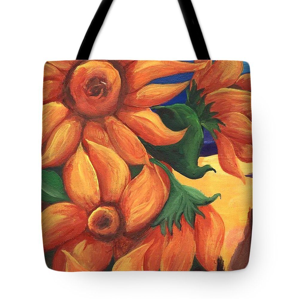 Sunflowers Tote Bag featuring the painting Sunflowers by Sidra Myers