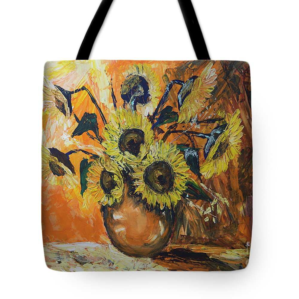 Sunflowers Tote Bag featuring the painting Sunflowers by Yana Sadykova