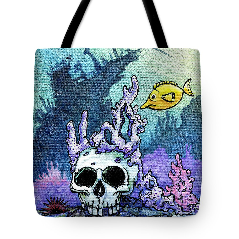 Day Of The Dead Tote Bag featuring the painting Sunken Head by Jacob Medina
