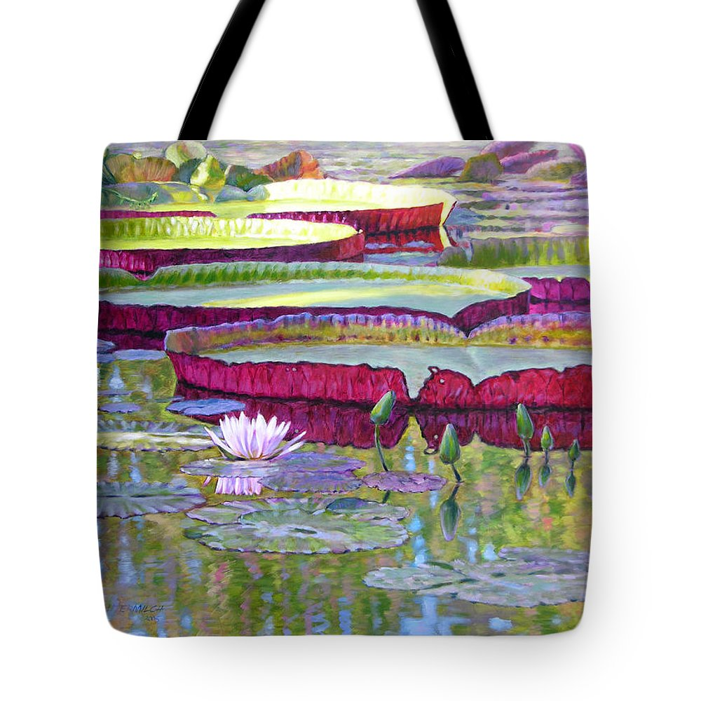 Lily Pond Tote Bag featuring the painting Sunlight On Lily Pads by John Lautermilch