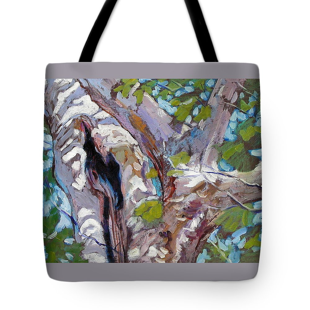 Tree Tote Bag featuring the painting Sunlight On Sycamore by John Lautermilch