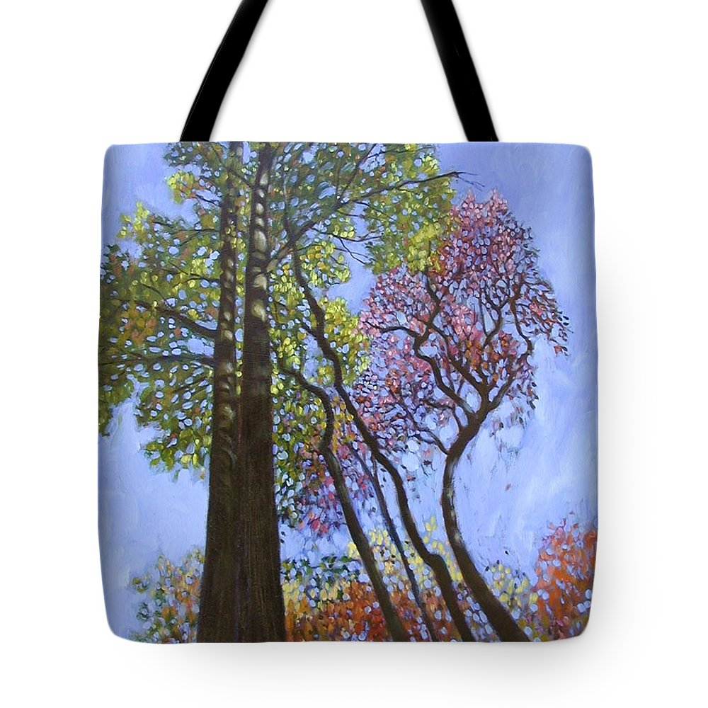 Fall Trees Highlighted By The Sun Tote Bag featuring the painting Sunlight On Upper Branches by John Lautermilch