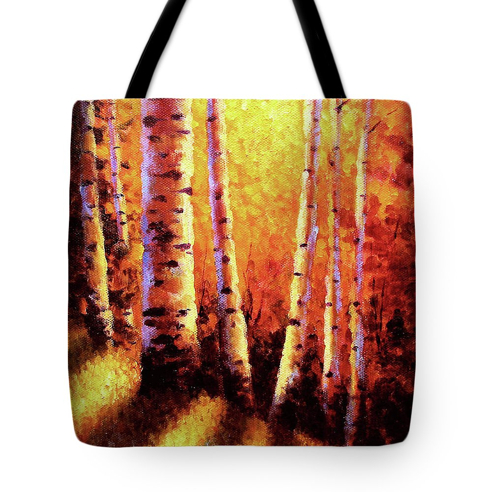 Sunlight Tote Bag featuring the painting Sunlight Through The Aspens by David G Paul