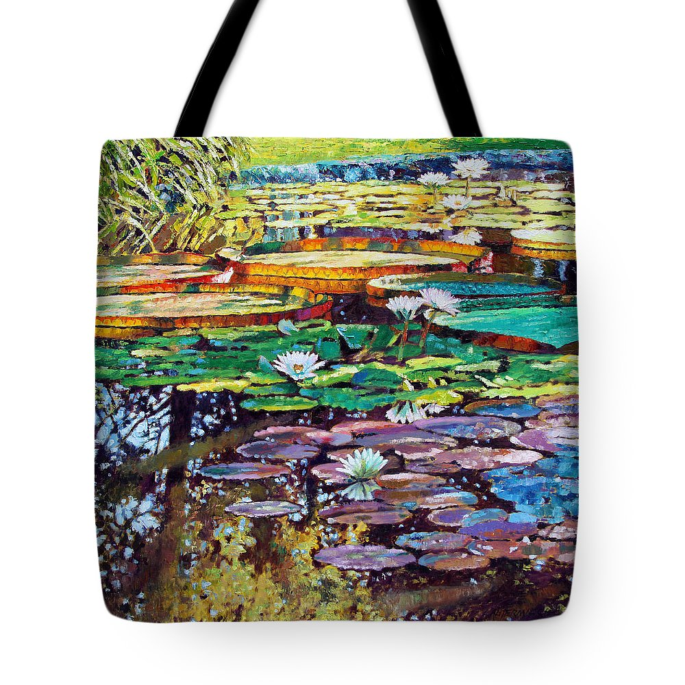 Sunlight Tote Bag featuring the painting Sunlight To Shadows by John Lautermilch