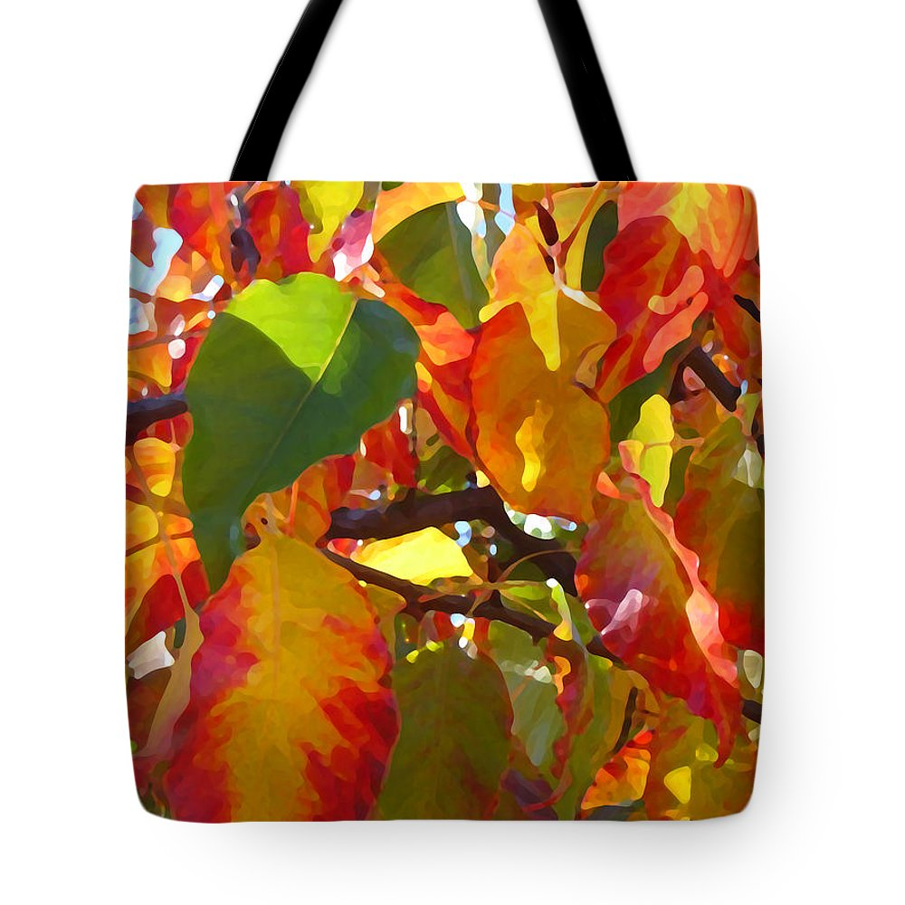 Fall Leaves Tote Bag featuring the photograph Sunlit Fall Leaves by Amy Vangsgard