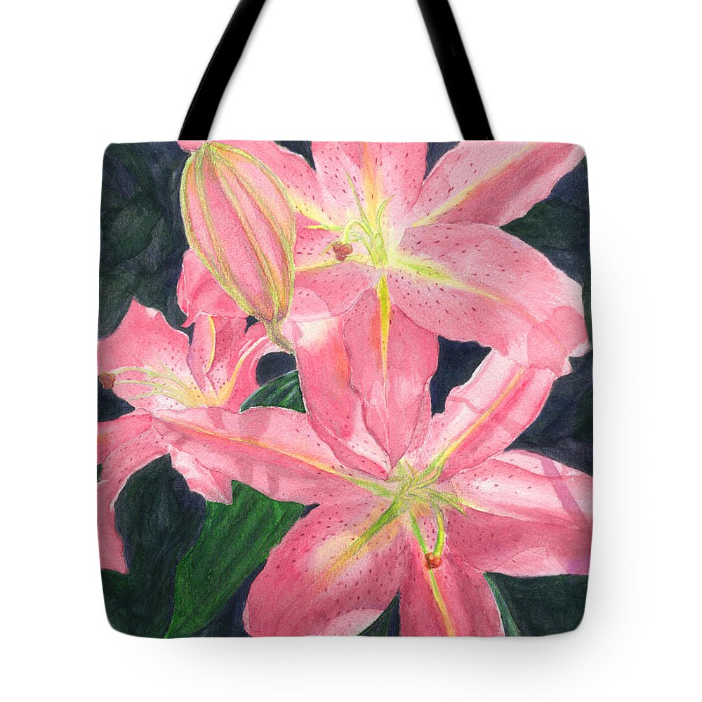 Floral Tote Bag featuring the painting Sunlit Lilies by Lynn Quinn