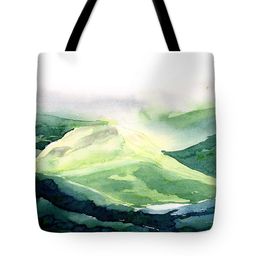 Landscape Tote Bag featuring the painting Sunlit Mountain by Anil Nene