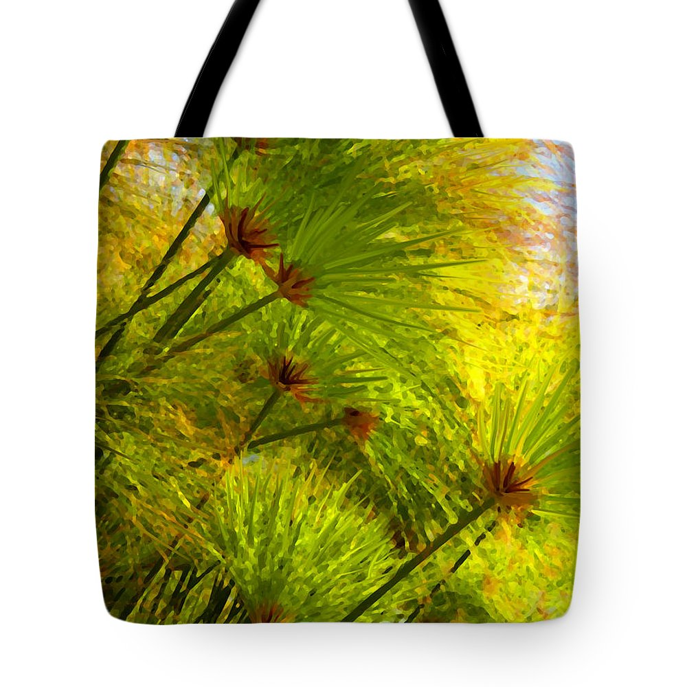 Landscape Tote Bag featuring the painting Sunlit Paparus by Amy Vangsgard