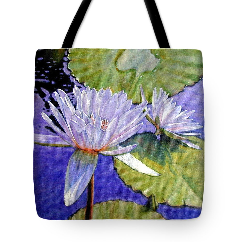 Water Lilies Tote Bag featuring the painting Sunlit Petals by John Lautermilch