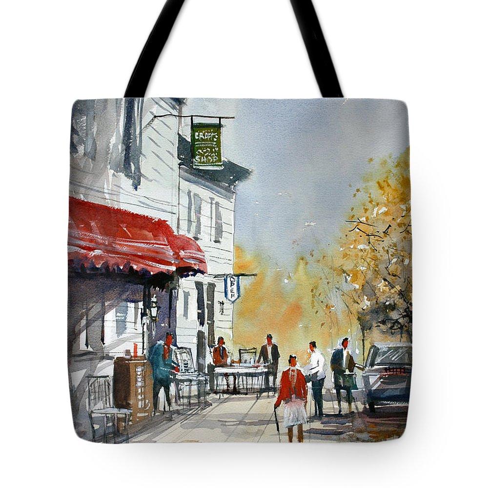 Ryan Radke Tote Bag featuring the painting Sunlit Sidewalk - Neshkoro by Ryan Radke