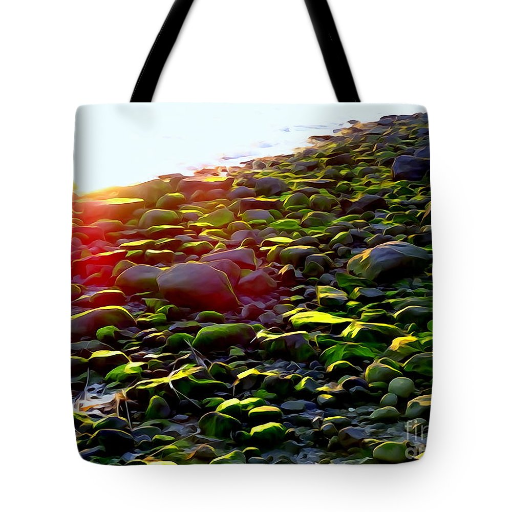 Abstract Tote Bag featuring the photograph Sunlit Stones by Ed Weidman