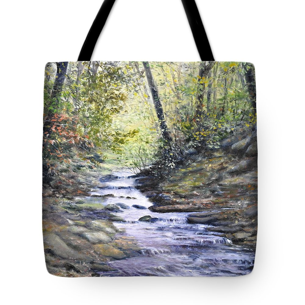 Nature Tote Bag featuring the painting Sunlit Stream by Penny Neimiller