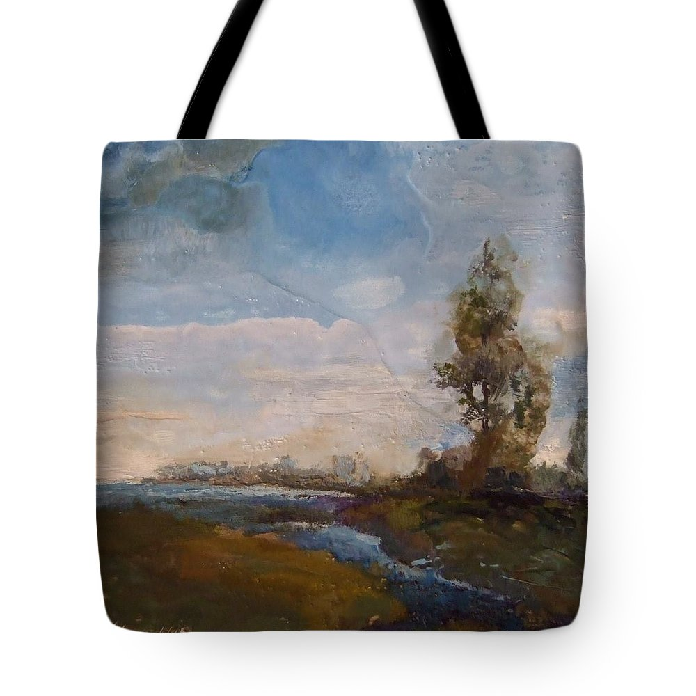 Stream Tote Bag featuring the painting Sunlit Stream by Ruth Stromswold