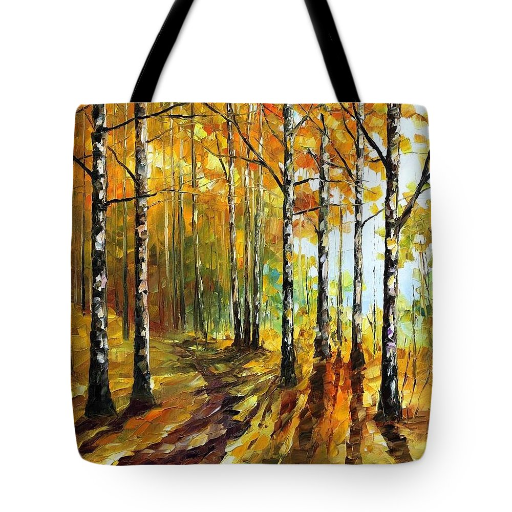 Afremov Tote Bag featuring the painting Sunny Birches by Leonid Afremov
