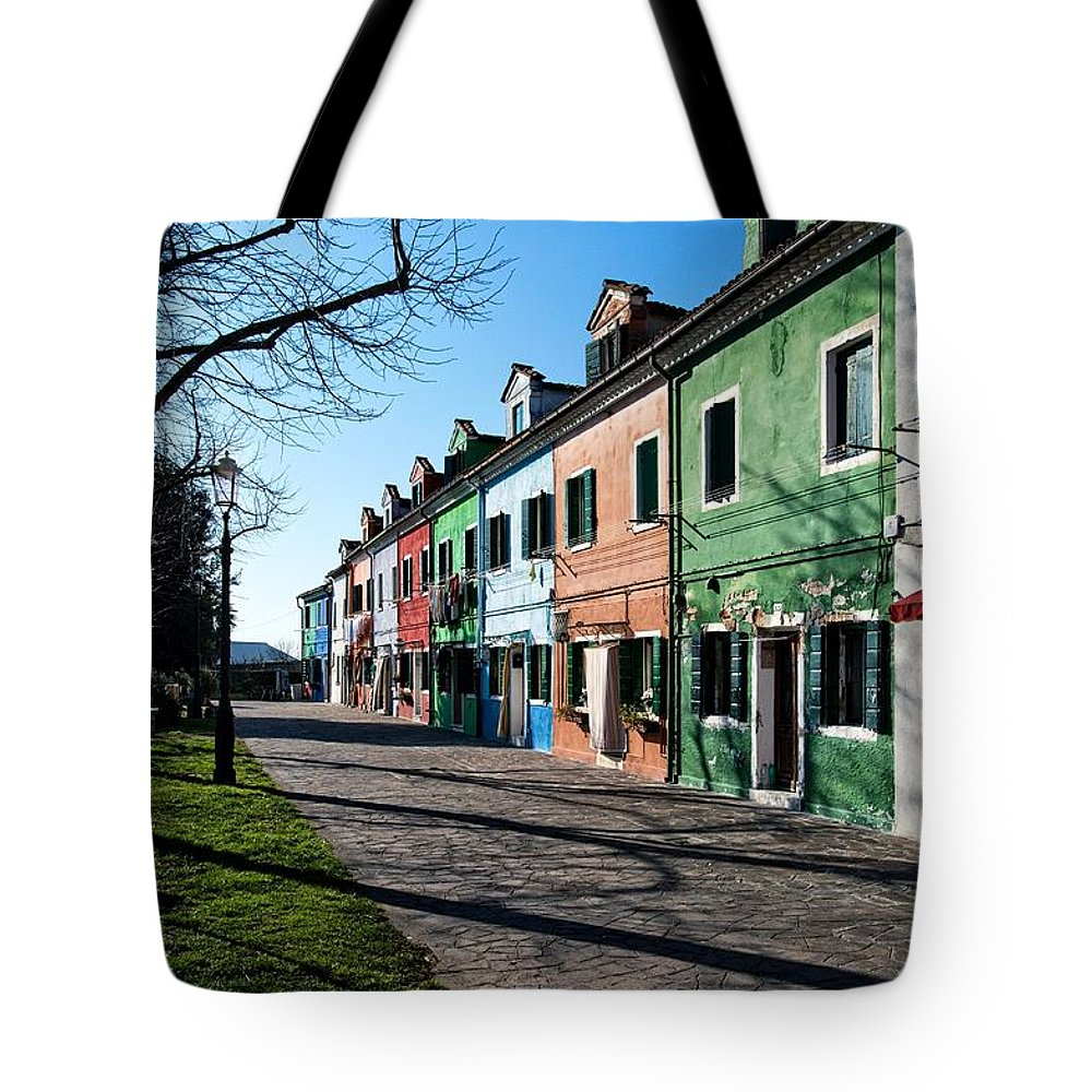 Italy Tote Bag featuring the photograph Sunny Colors Of Burano by Allan Van Gasbeck