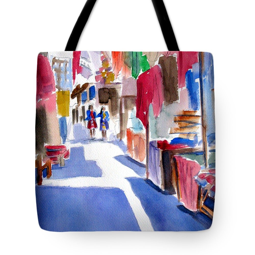 Market Tote Bag featuring the painting Sunny Day At The Market by Marsha Elliott