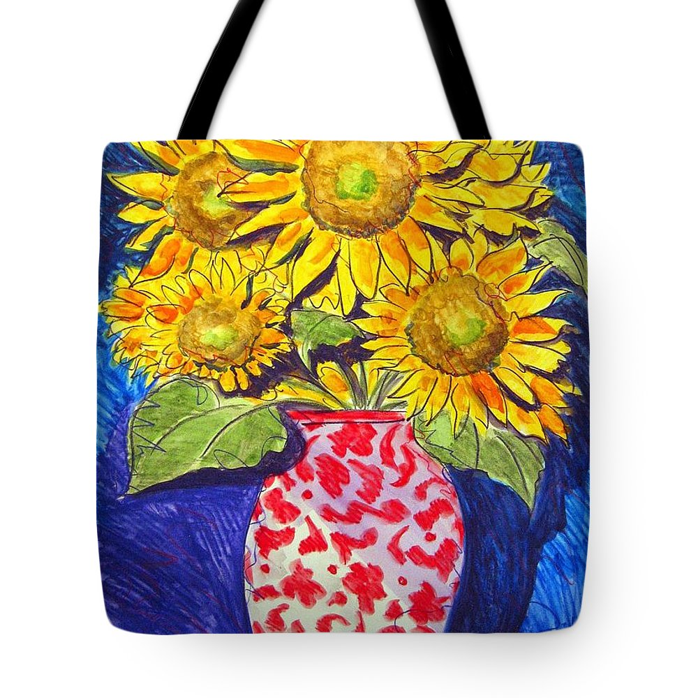 Sunflower Tote Bag featuring the painting Sunny Disposition by Jean Blackmer