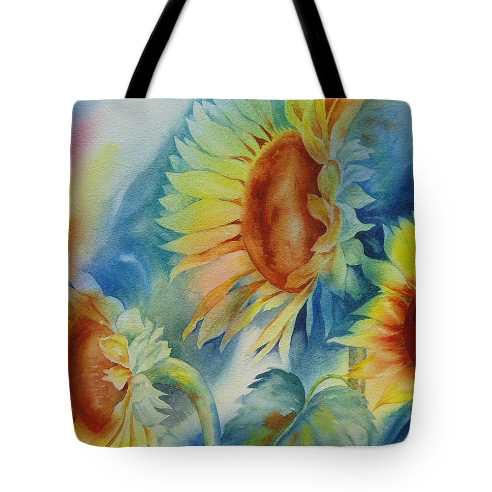 Sunflowers Tote Bag featuring the painting Sunny Flowers I by Tara Moorman