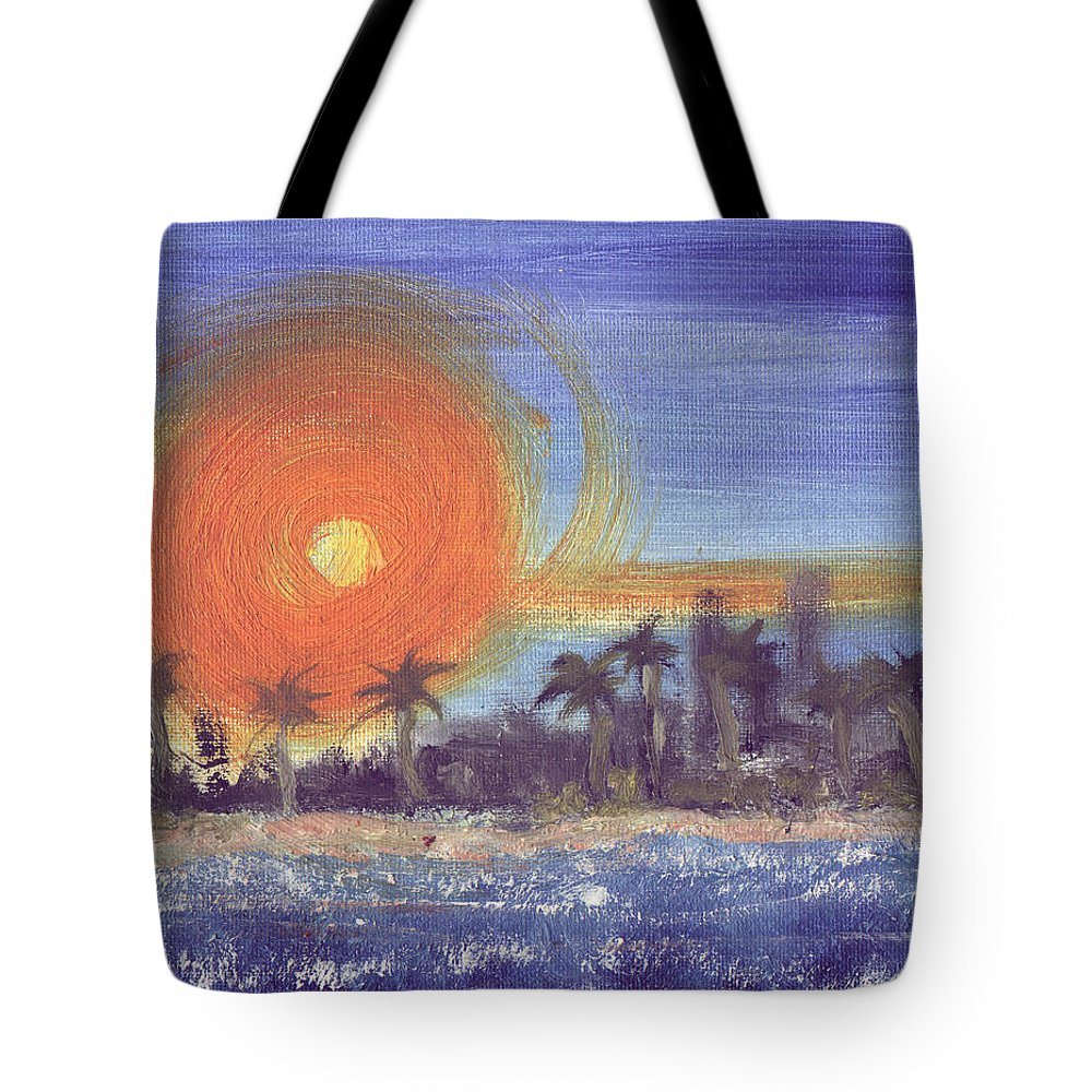 Seashore Tote Bag featuring the painting Sunny Palms by Jorge Delara