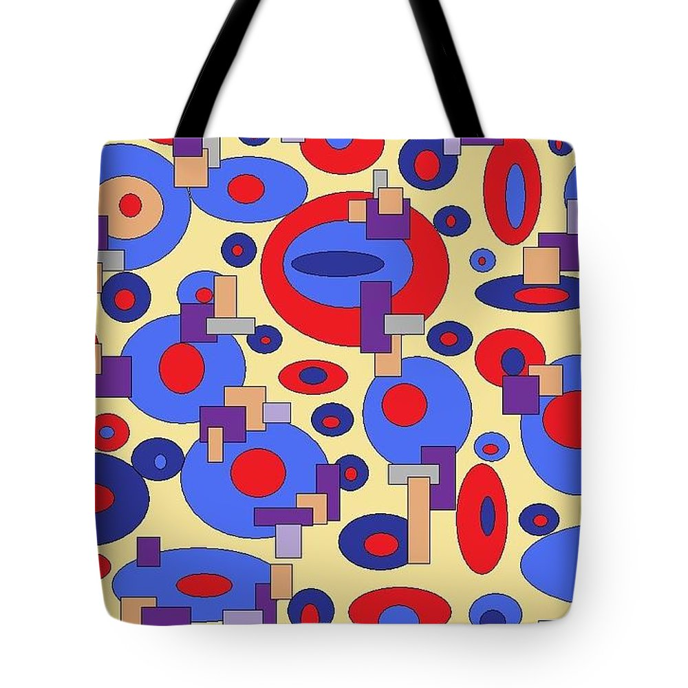 Digital Abstract Tote Bag featuring the digital art Sunny Sea by Jordana Sands