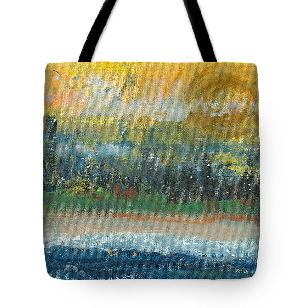 Beachscape Tote Bag featuring the painting Sunny Side Beach by Jorge Delara
