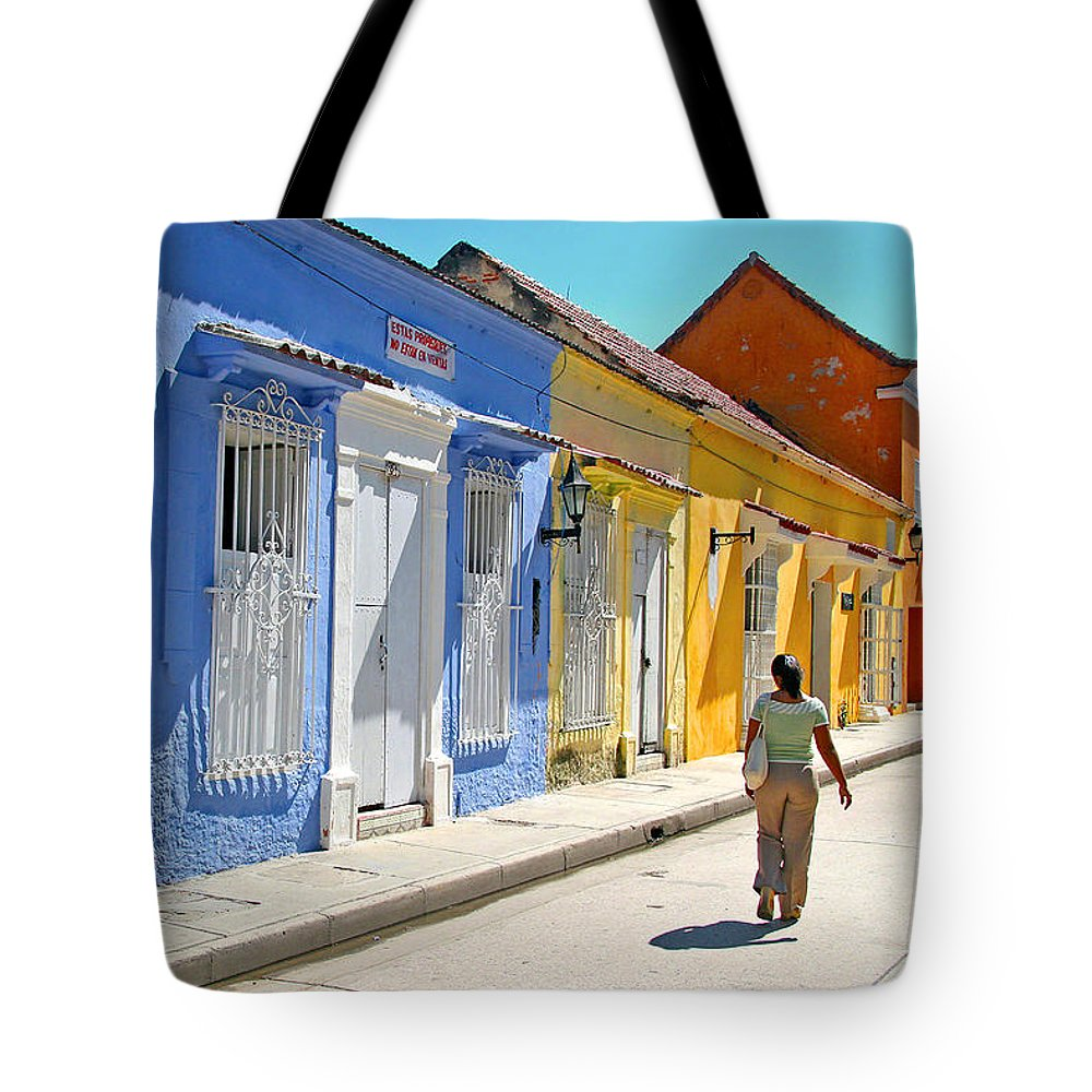 Caribbean Tote Bag featuring the photograph Sunny Street With Colored Houses - Cartagena-colombia by Riccardo Forte