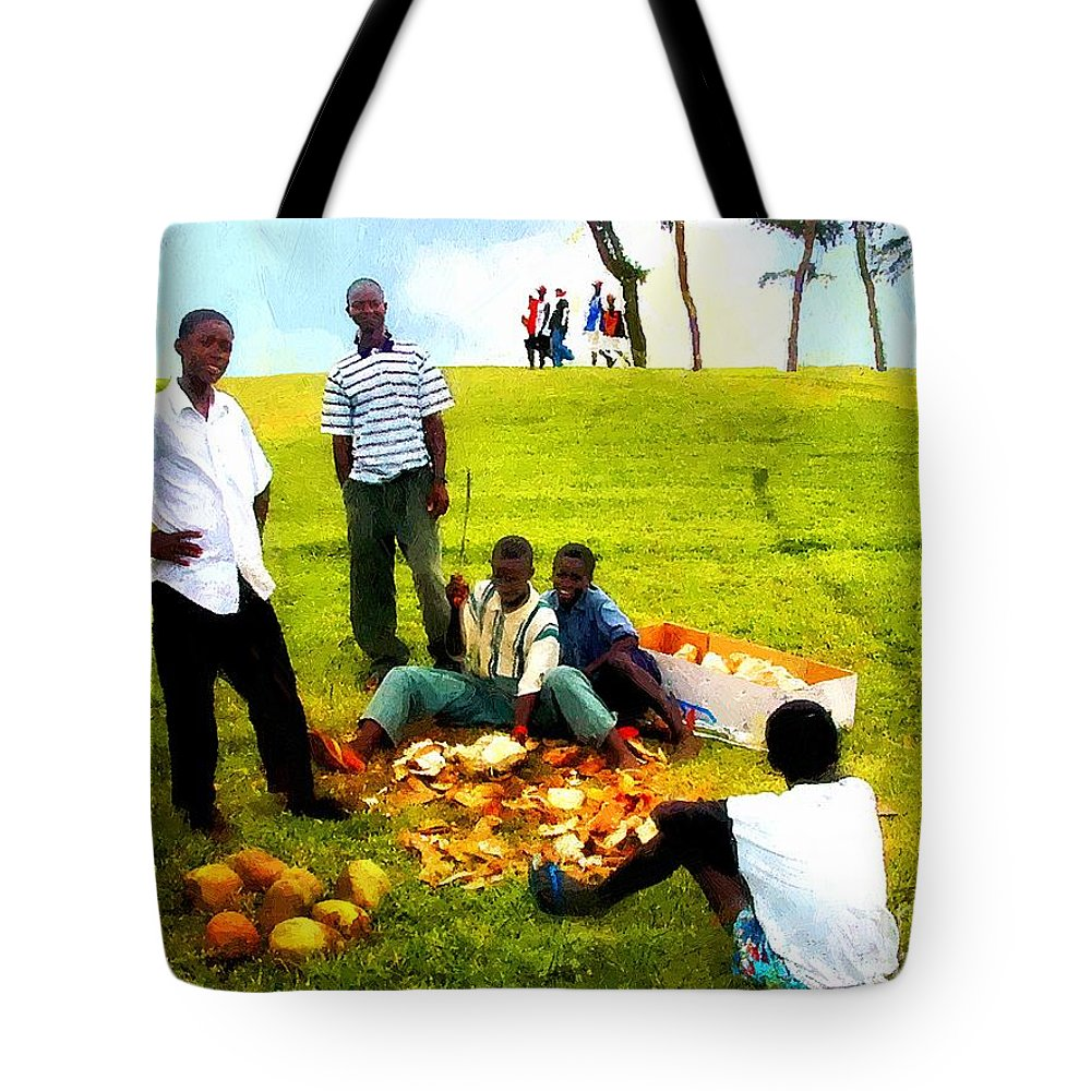 Africa Tote Bag featuring the painting Sunny Sunday At The Park by RC DeWinter