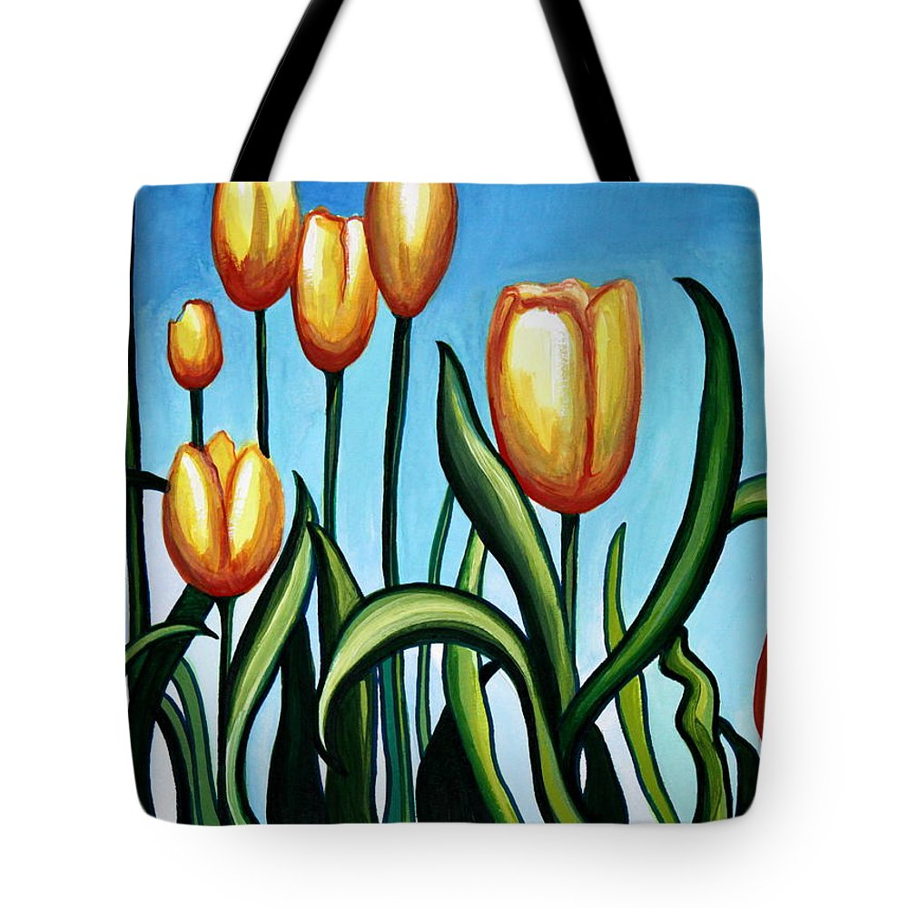 Tulip Tote Bag featuring the painting Sunny Yellow Tulips by Elizabeth Robinette Tyndall