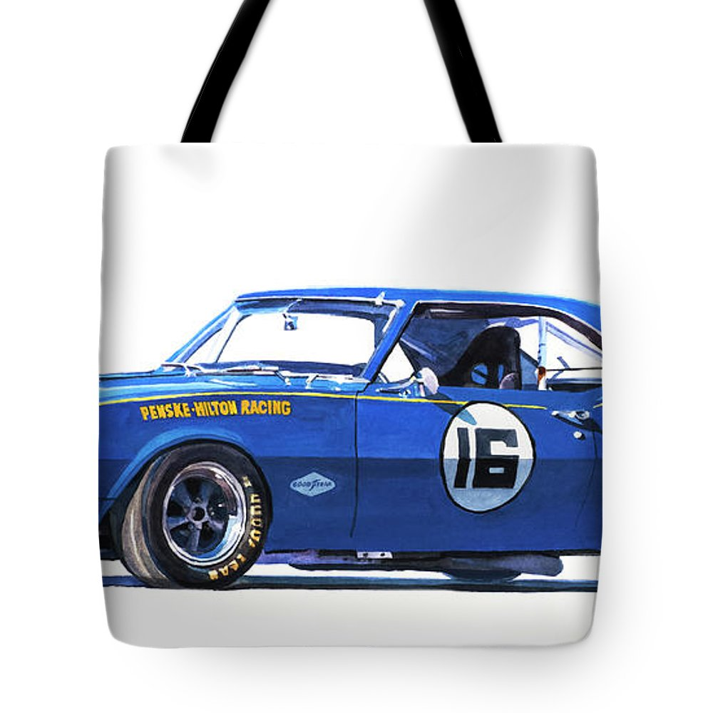 Camaro Tote Bag featuring the painting Sunoco Camaro Z28 by David Lloyd Glover