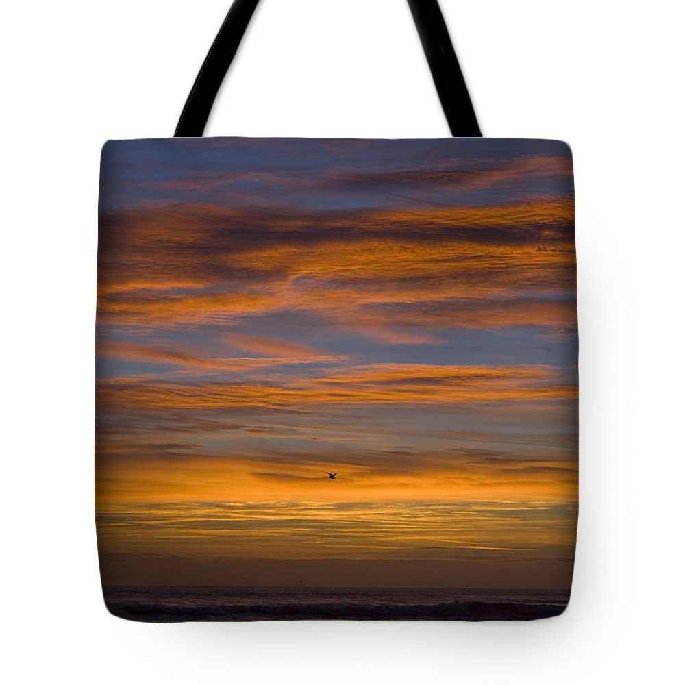 Sun Sunrise Cloud Clouds Morning Early Bright Orange Bird Flight Fly Flying Blue Ocean Water Waves Tote Bag featuring the photograph Sunrise by Andrei Shliakhau