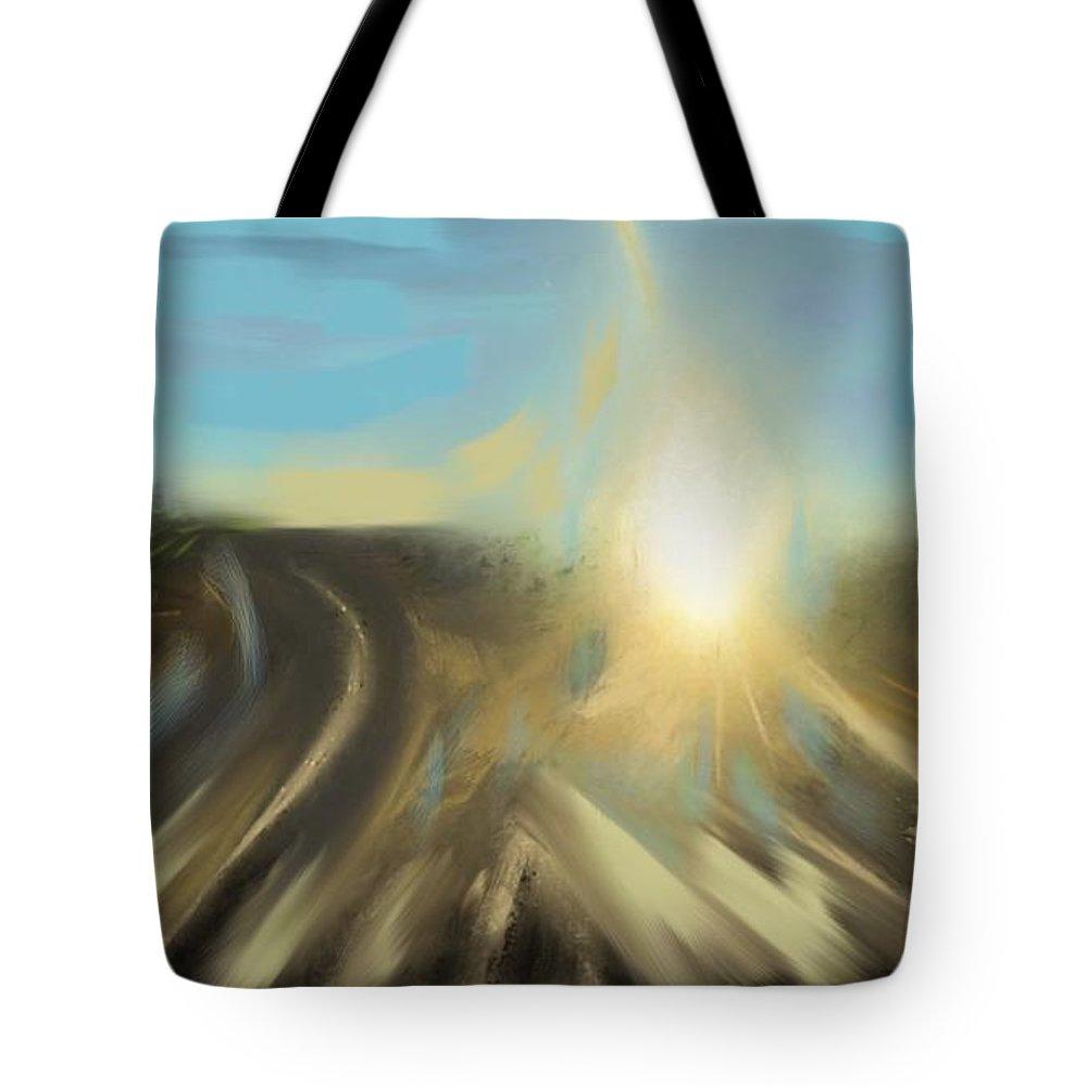 Landscape Tote Bag featuring the digital art Sunrise by Angela Weddle