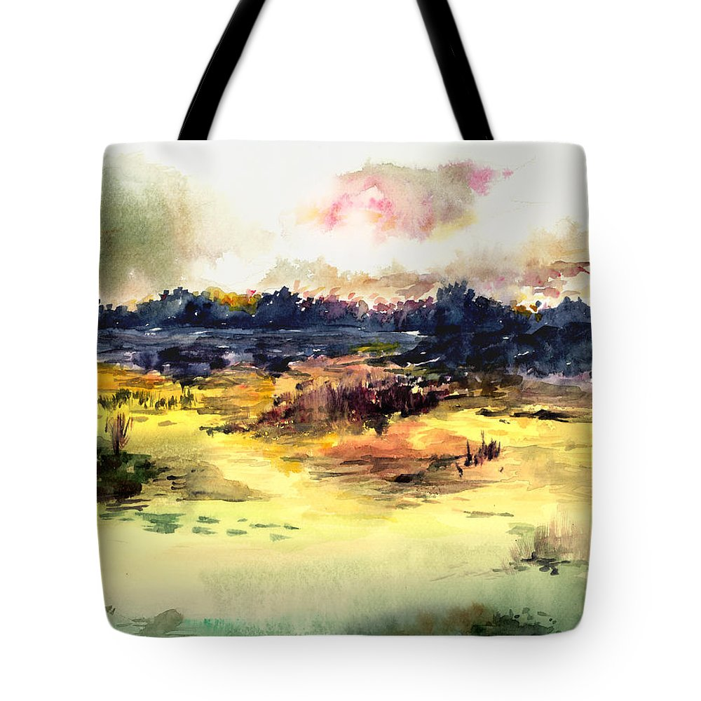 Landscape Water Color Sky Sunrise Water Watercolor Digital Mixed Media Tote Bag featuring the painting Sunrise by Anil Nene
