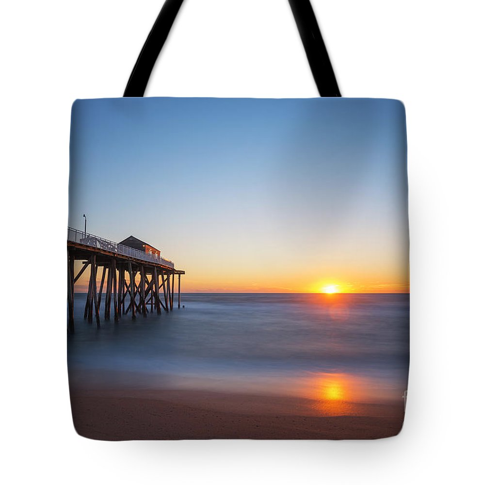 Fishing Pier Sunrise Tote Bag featuring the photograph Sunrise At Belmar New Jersey by Michael Ver Sprill