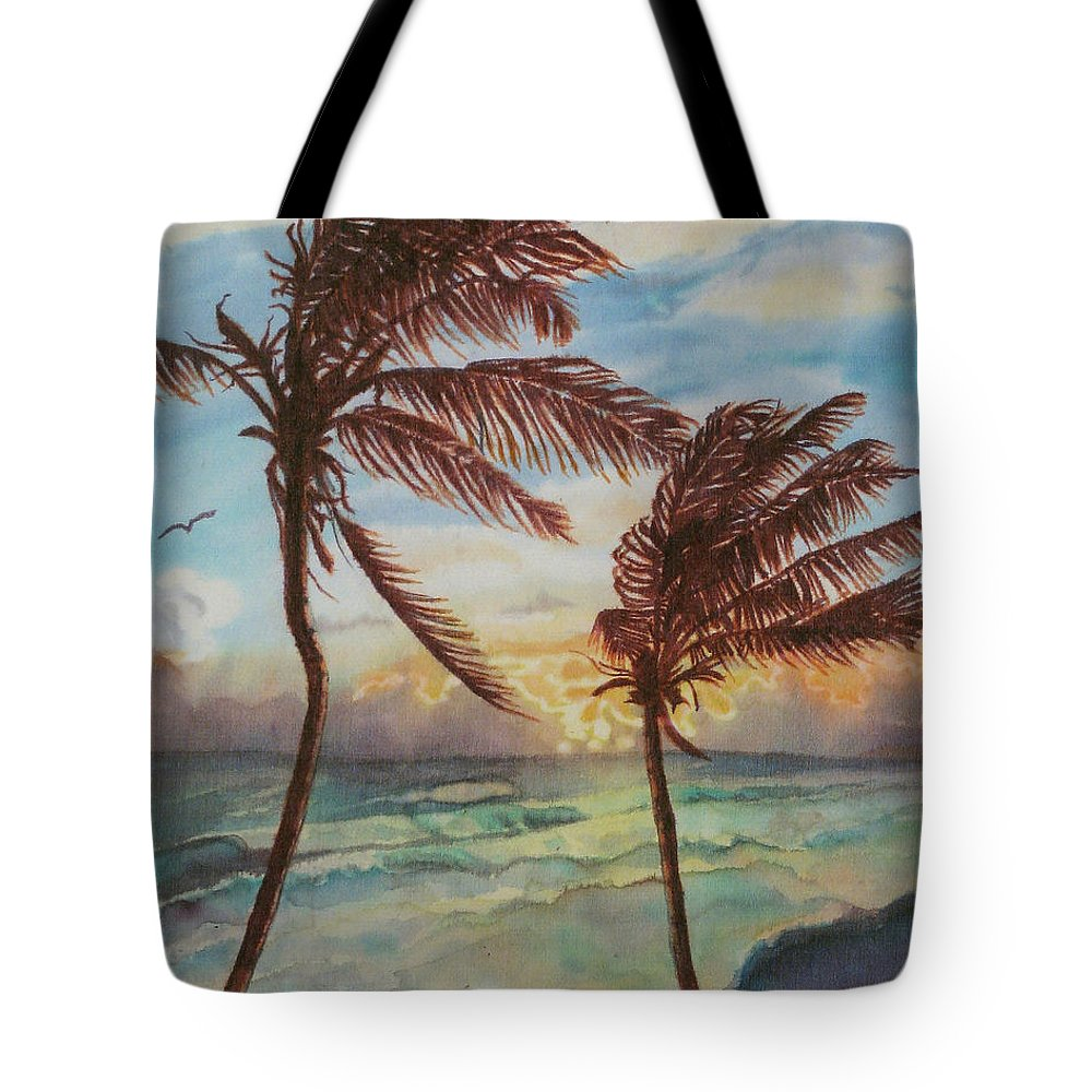 Coconut Tree Tote Bag featuring the painting Sunrise At Cattlewash 4 by Deborah Younglao